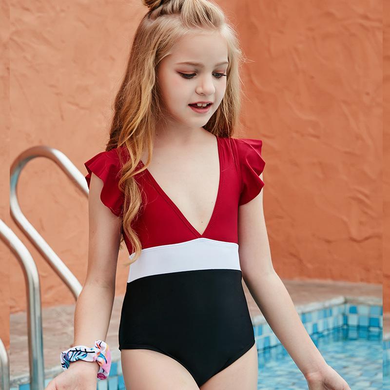 Kid Swimwear Little Child Girl Swimsuit Bikini Bathe Letter Print Leopard Tie Dye Baby Swim Wear Suit 649 Y2