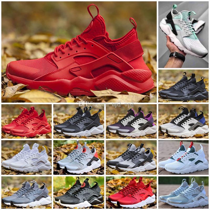 Yüksek Kaliteli Huarache 4 Erkekler Kadınlar için Açık Ayakkabı Siyah Beyaz Kırmızı Gri Sneakers Huaraches Jogging Spor