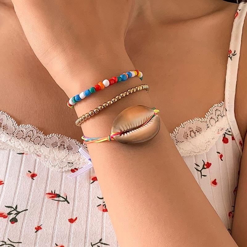 Charm Bilezikler Shixin Bohemia Çok Katmanlı Renkli Boncuklu Kabuk Bilezik Kadınlar Için Moda Yaz Charms Esneklik Seti Takı 2021