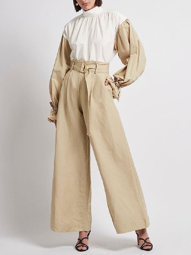 Womens Tanks Big-name summer stitching fashion top pullover + wide-leg trousers long sleeve two-piece suit XL