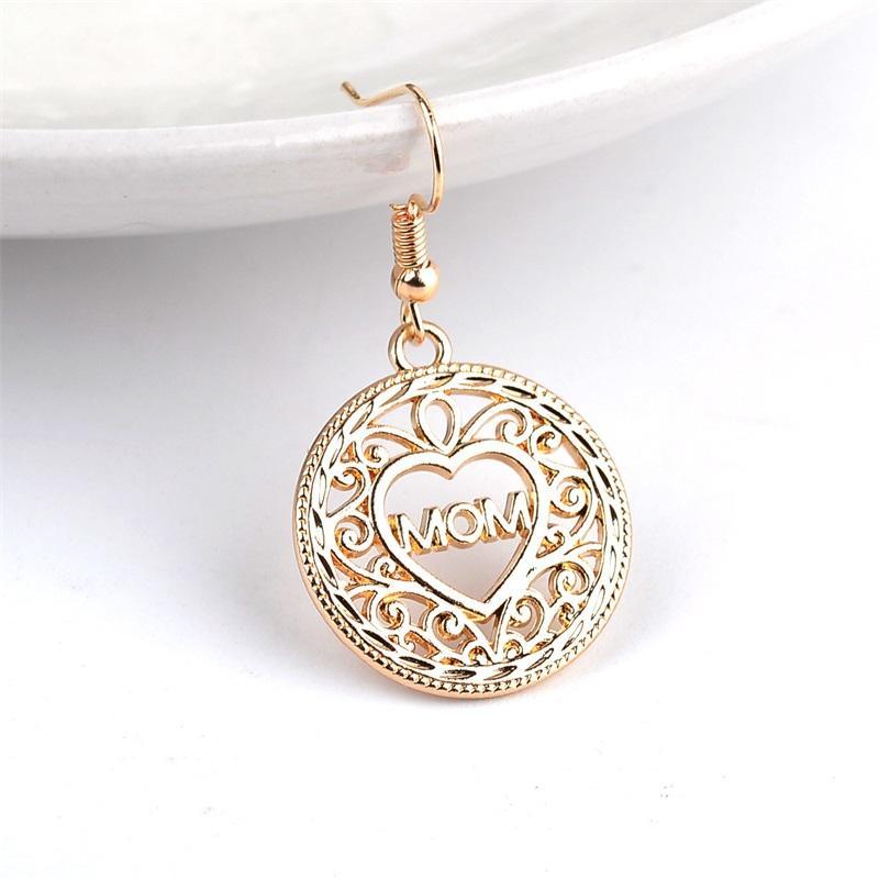جوفاء الحب القلب استرخى أقراط أمي إلكتروني قطرة الذهب الأذن هوك للنساء ماما الأم هدية عيد الأزياء والمجوهرات في السائبة 299 G2