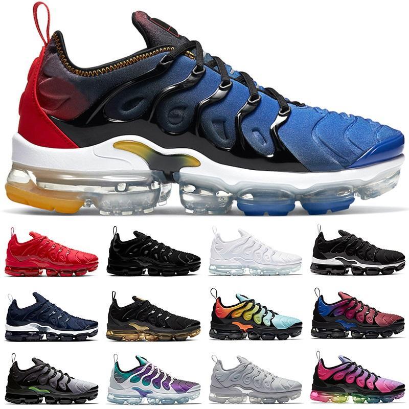 TN Artı Erkekler Kadınlar Koşu Ayakkabıları Üçlü Beyaz Siyah DMP Altın Üzüm Hiper Mavi Turuncu Erkek Eğitmenler Sneakers Spor Koşucular