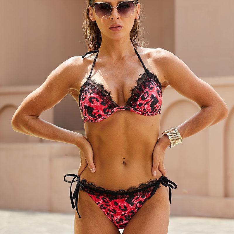 2021 Cuello de leopardo Sexy Split Split Bikini Traje de baño para mujeres