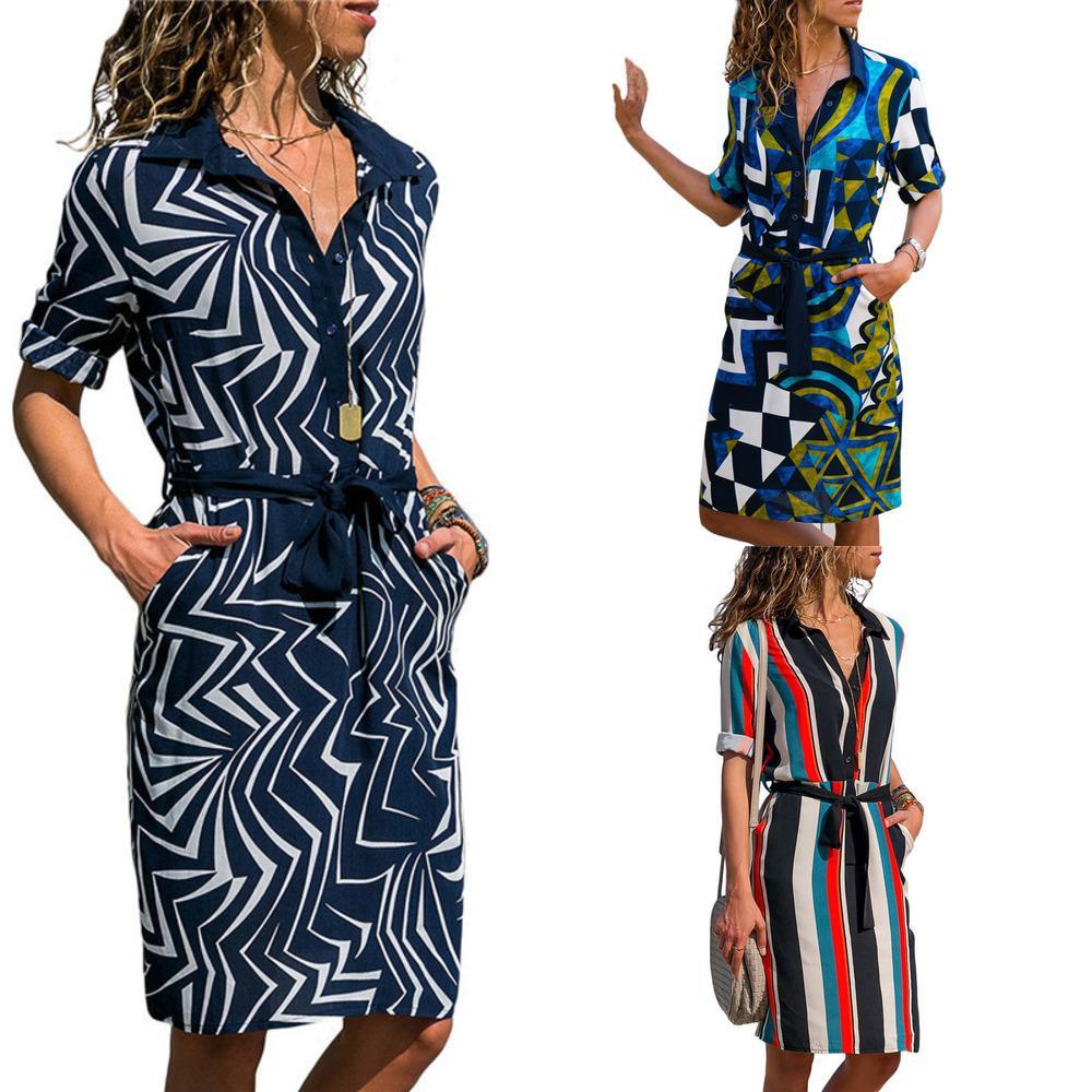 AACHOAE VESTIDO 2020 Summer Rayas A Rayas A Línea Impresión Boho Vestidos de Playa Mujeres Manga Larga Oficina Camisa Vestido Mini Vestido de fiesta Vestidos X0521