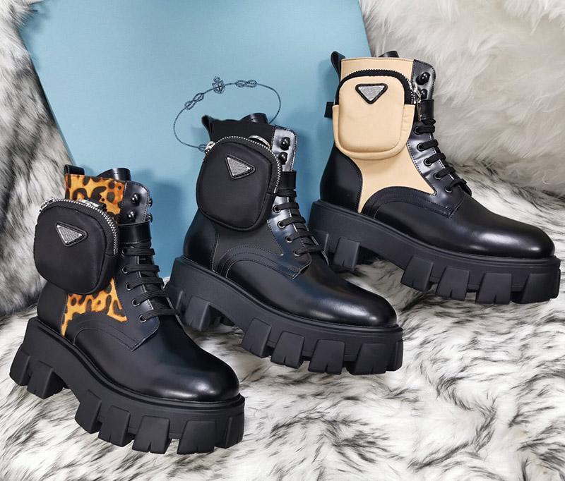 2021 Botas para mujer de invierno de alta calidad Calfskin Martin Shoe Detachable Nylon Pouch Zapatos de Combate Ladies Outdoor Fondo Grueso Inferior Medio
