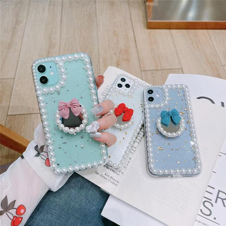 Creative Pearl TPU Mobile Phone Cases mirror fashion designers case cute lovely Cover for iPhone 7 8 Plus X 11 12 MAX