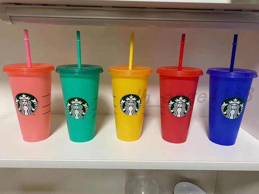 100pcs DHL Starbucks 24oz / 710ml Tumbler in plastica riutilizzabile trasparente bere fondo piatto tazza tazza pilastro figura coperchio tazza di paglia La stampa della macchina UV Bardian non svanisce