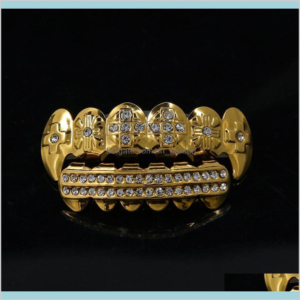 الهيب هوب الأسنان الذهب والفضة مطلي كريستال 6 أعلى أسفل فو الأسنان الأقواس مغني الراب الجسم مجوهرات للجنسين NGYWC Grillz WICJR