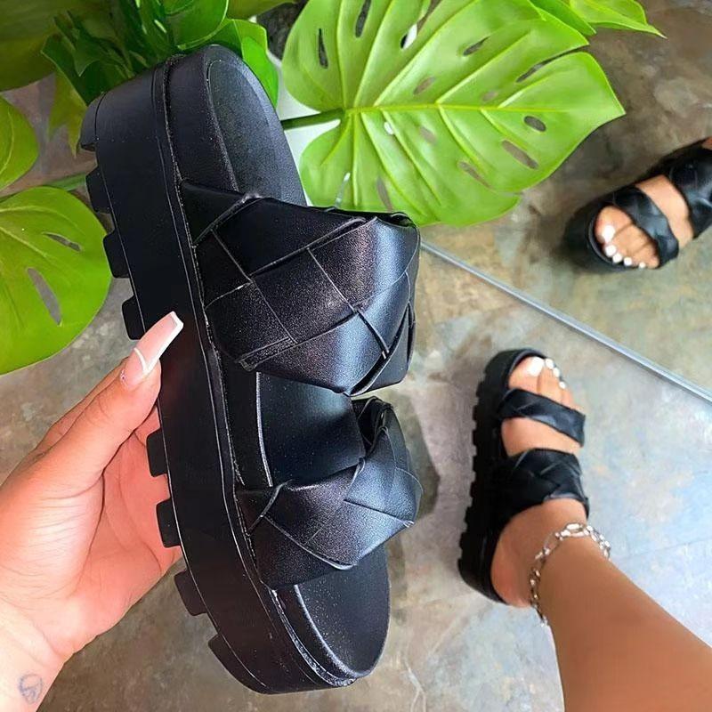 Moda 2021 Yaz kadın Sandalet Açık Burun Ayakkabı Kadınlar Yüksek Topuklu Platformu Casual Slope Elbise Için