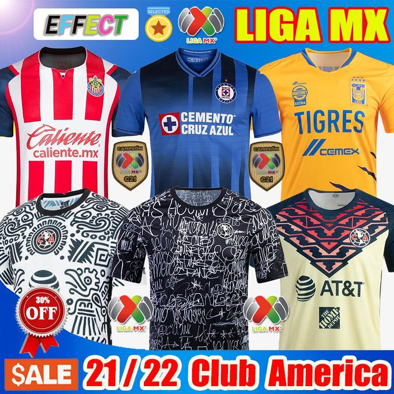 22 22 Club America Home Pre Soccer Jerseys 2021 2122 Unam Third Leon Naul Tigres Chivas Guadalajara Xolos Tijuana Cruz Azul Kit Camisas de Futebol 축구 셔츠 C21