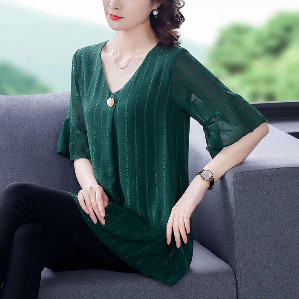 Chiffon da donna 2021 nuovo abito da estate coreano copertina pancia show show sottile medio lungo stile straniero manica corta stile