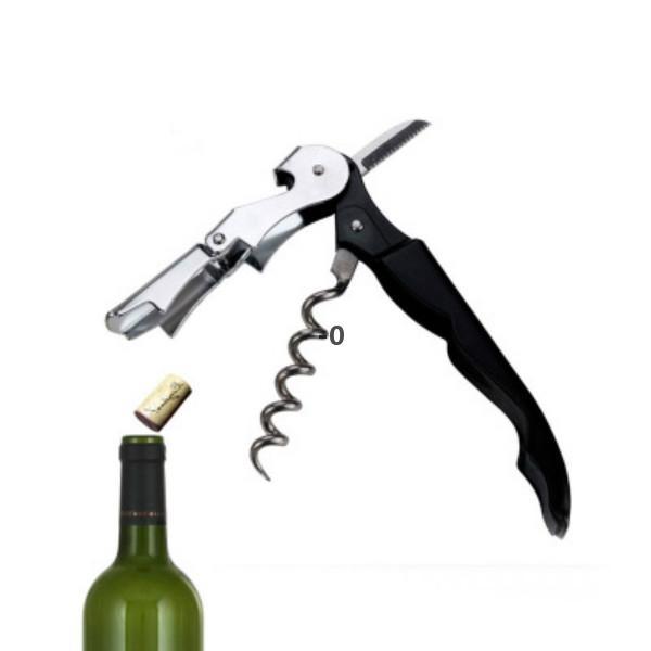 Personalizza logo tascabile tascabile utensile in metallo in sughero vite taccabreno multifunzione rosso bottiglia di vino rosso OWE9671