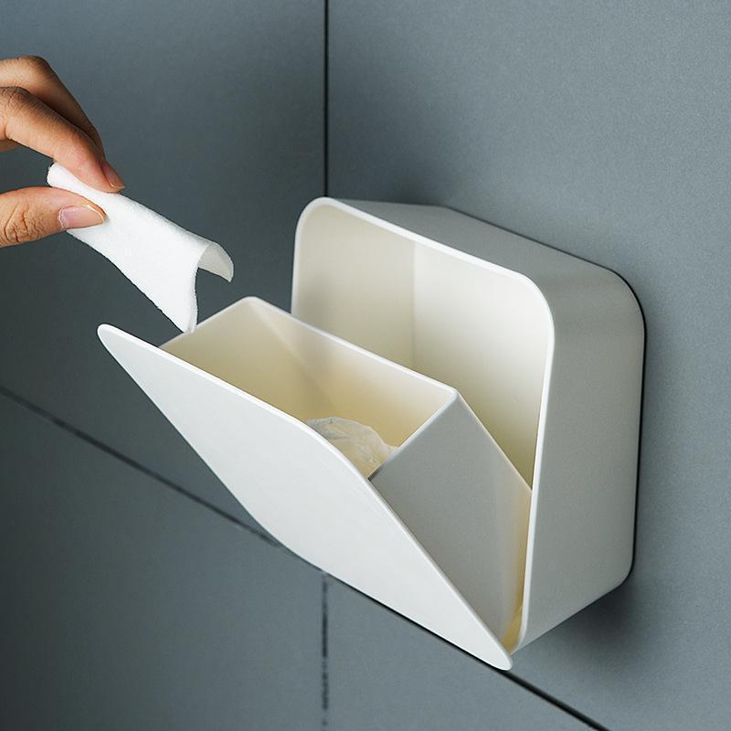 Topes de papel higiénico Caja de almacenamiento cuadrado Soporte de algodón Soporte de hisopo Cajón Cubierta cosmética cubierta de pared Baño a prueba de polvo