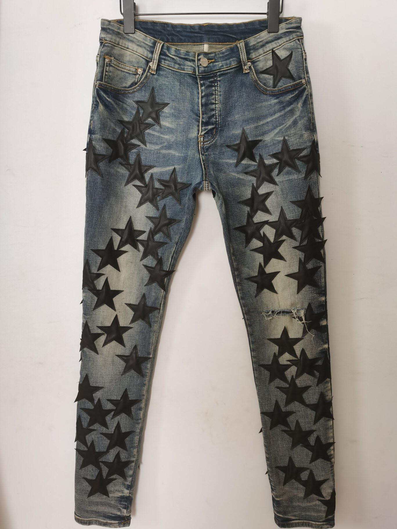 جينز جينز السراويل طويلة نحيل جلد الخام خمسة نجمة تدمر لحاف ممزق حفرة مصمم الأزياء جان الرجال مصممين الملابس