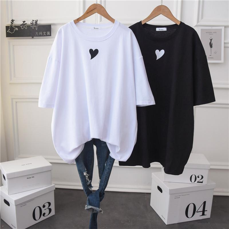Plus Size Summer Donne in cotone Casual T Shirt manica corta Collo rotondo Semplice Solido Crewneck T-shirt Tunica Tunica T-shirt Tunica Top Top