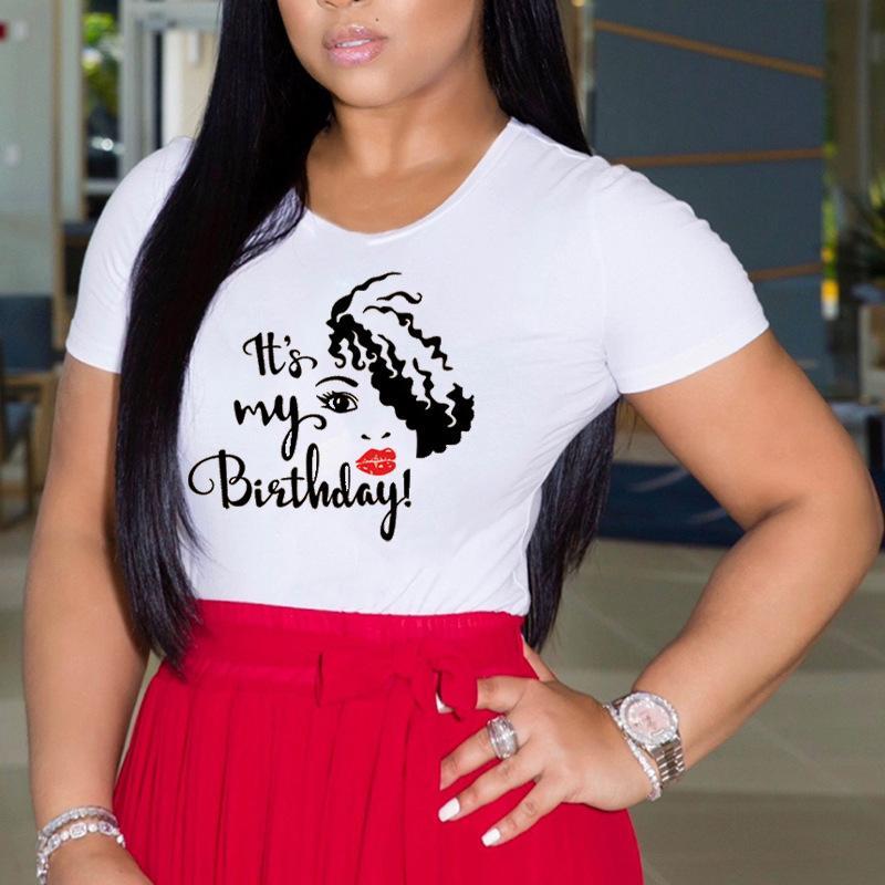 여성 짧은 소매 티셔츠 컬러 블록 O 넥 레터 헤드 프린트 여름 탑 캐주얼 느슨한 티즈 크기 (S-3XL))