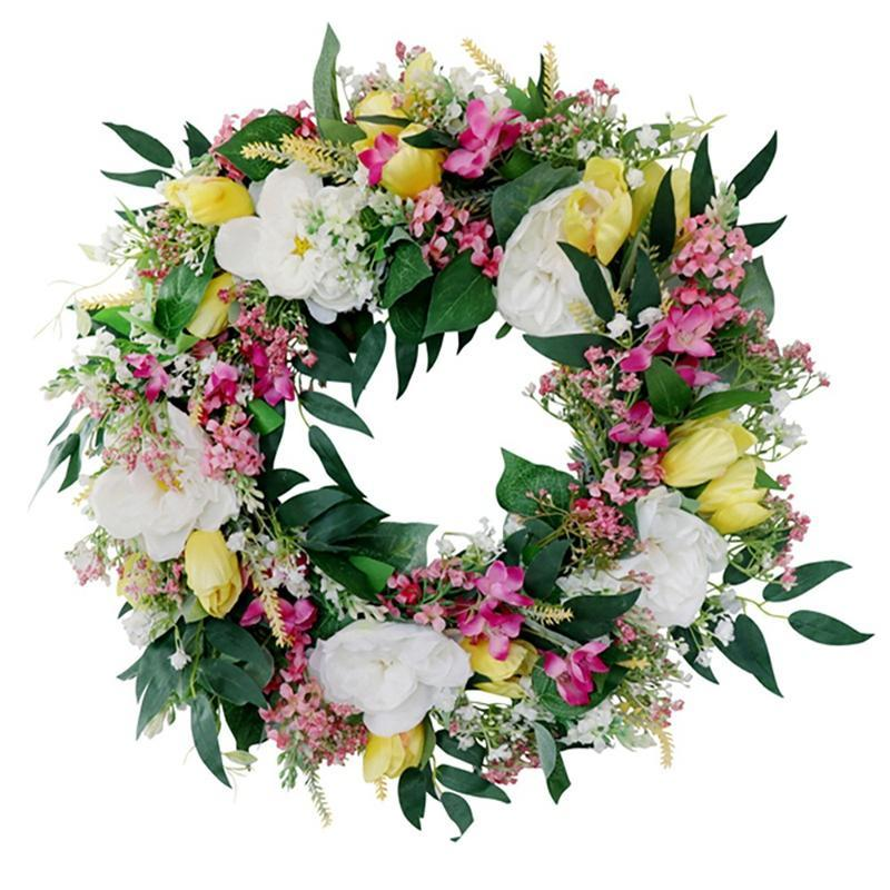 Artificial Tulip Rose Bellflower Wreath For Front Door Wedding Wall Window Party Farmhouse Garden Home Spring Decoration Decorative Flowers
