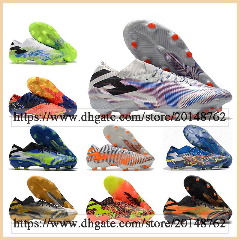 حقيبة هدية رجالي منخفضة الكاحل أحذية كرة القدم Nemeziz 19.1 FG Firm Cleate Cleats ميسي 19 ري ديل بالون .1 أحذية كرة القدم