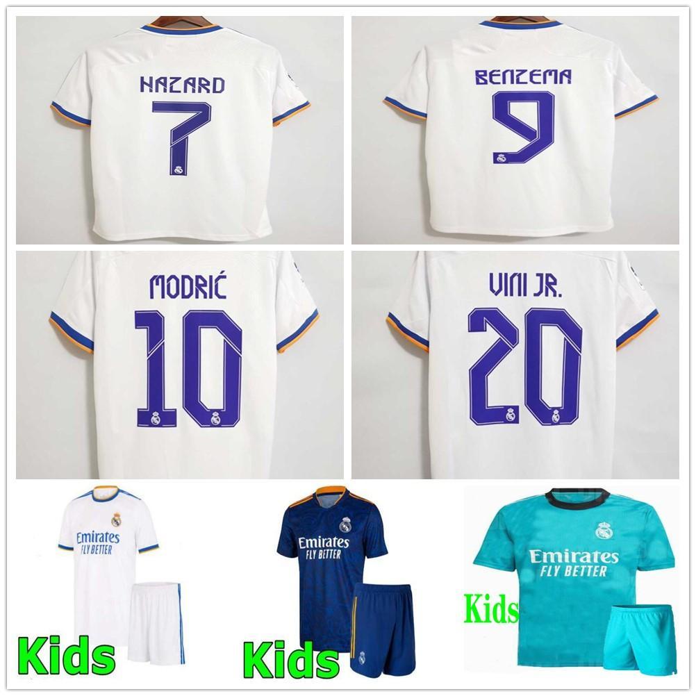 21 22 Real Madrid Çocuk Futbol Formaları Alaba Tehlike Benzema Modric ASensio Vini Jr. Camavinga Camiseta Futbol Gömlek Üniformaları Gençlik Çocuk Erkek Seti Seti 2021 2022