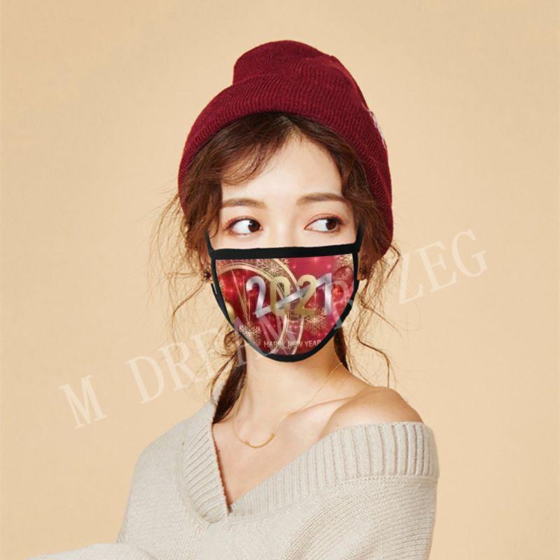 Designer Masken 2021 Happy Frohe Weihnachten Gesicht Mode Atmungsaktive Wiederverwendbare Druck Baumwolle Feiern Jahr Zubehör Partei Maske CQOP