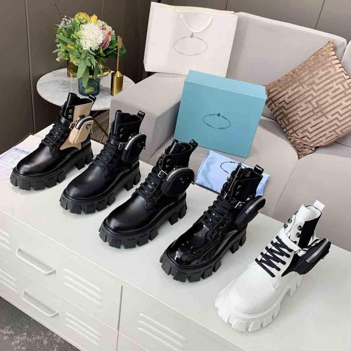 النساء المصممين Rois Ankle Martin الأحذية والنايلون التمهيد العسكرية مستوحاة القتالية القتالية المرفقة مع أكياس حجم 35-41