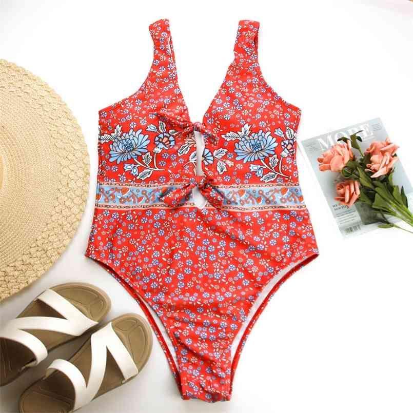 red floral print swimwear women beach wear bathing suit summer monokini swim suits sexy boho bathsuits 210510