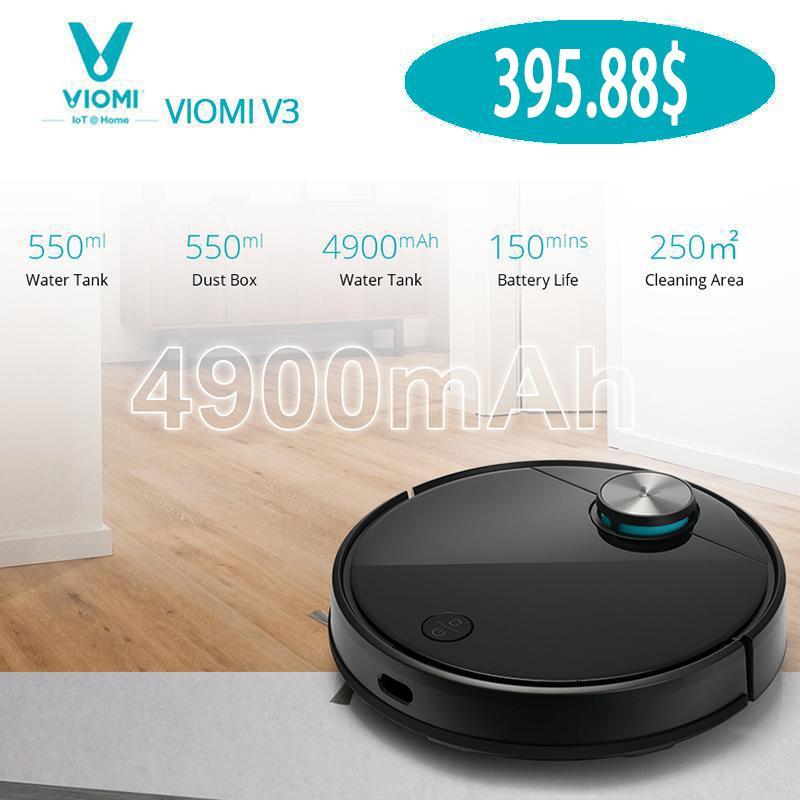 VIOMI-робот вакуумный очиститель V3, всасывающая сила 2600PA, тихая, самосборка, может очистить твердые полы в коврами среднего размера, батарею 4900 мАч, лазерная навигация LDS