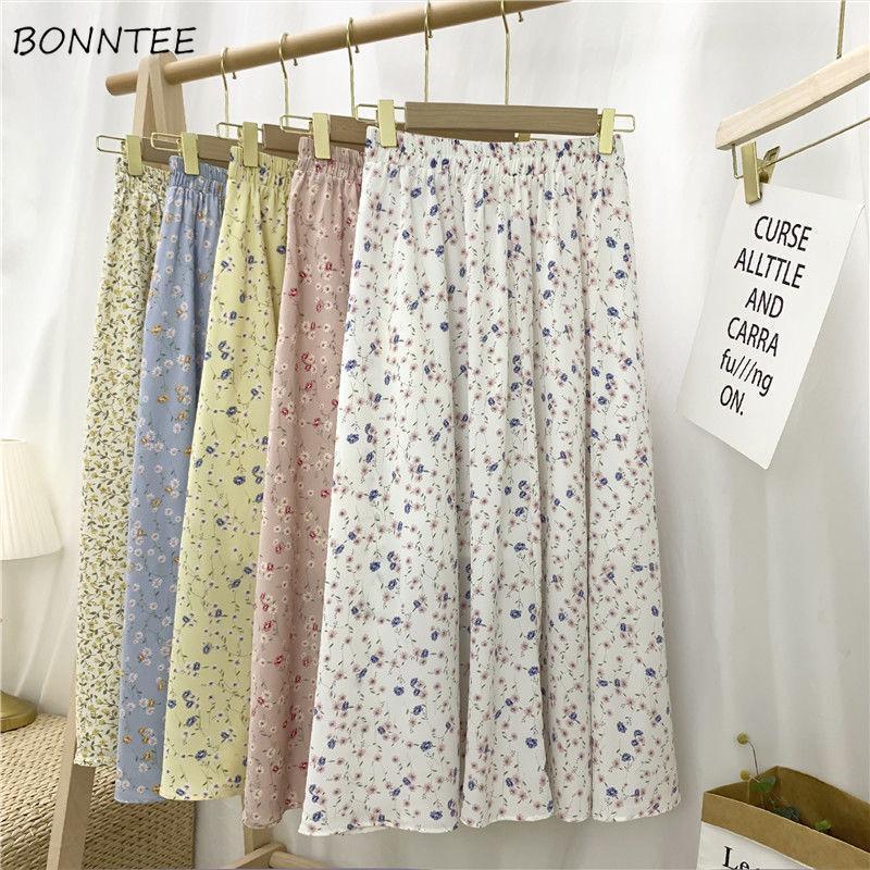Etekler Kadınlar Şifon Kore Casual Basit Yüksek Bel A-Line Orta Buzağı İmparatorluğu Streetwear Ins Çiçek Moda 3XL 5-Renkler Sevimli