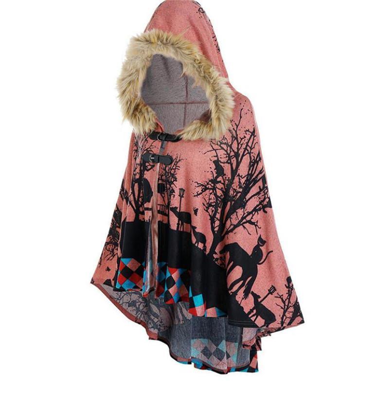 가을 겨울 여성 스웨터 목도리 코트 탑 중간 길이 느슨한 후드 고조 모피 칼라 유럽 아메리칸 핑크 XXXL 니트 티