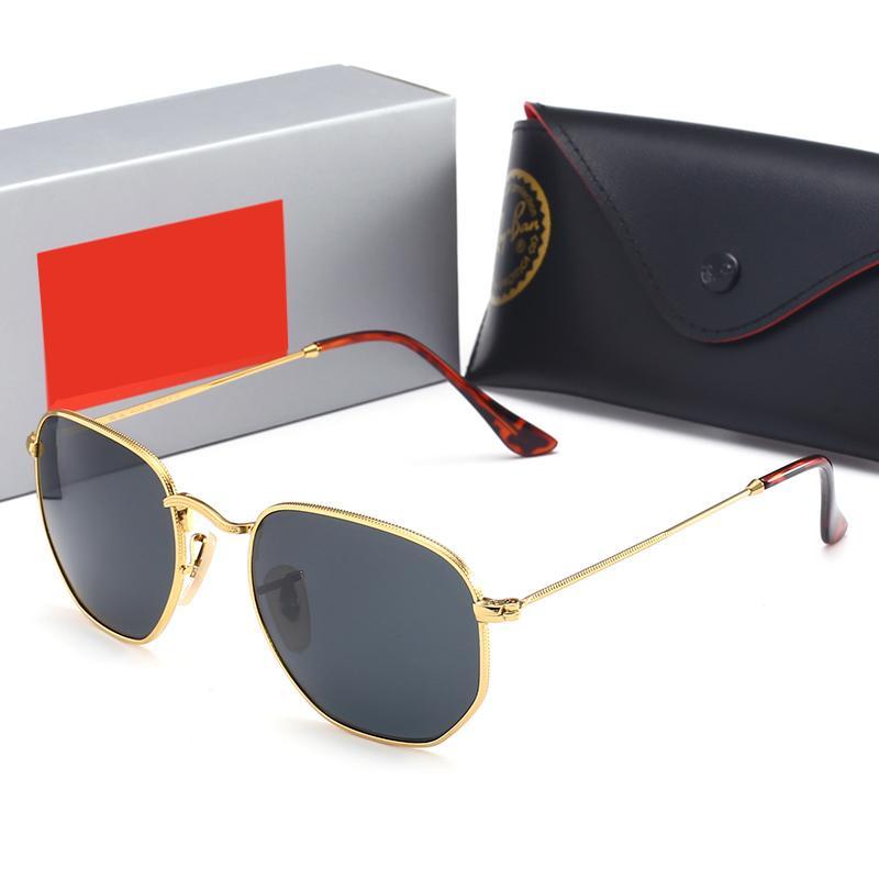 الفاخرة مصمم سداسية النظارات الشمسية الأزياء خمر الطيار الرجال النساء 51 ملليمتر uv400 جاستن الفرقة مرآة الزجاج بن الكلاسيكية مع الحالات