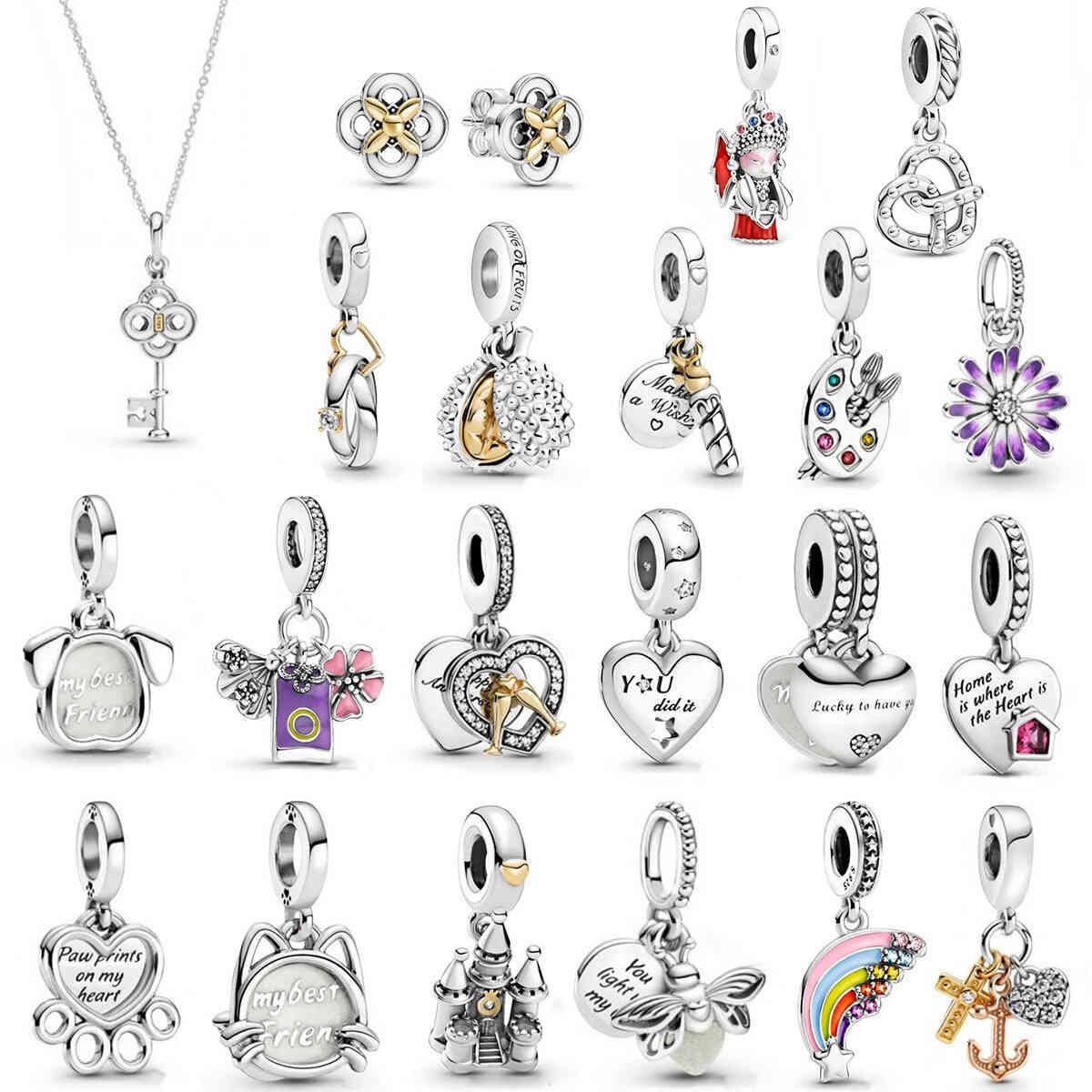 100% 925 Sterling Silver Charm Pink Pavé Clip Flower Stud Earrings Glow-in-the-dark Firefly Dangle Fit Pandora Bracelet Diy Women Jewelry