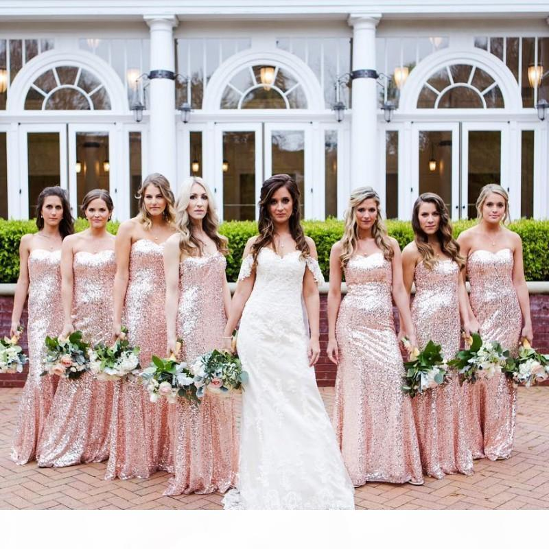 Rose Pink Sequined Summer Cheap Bridesmaid Dresses Garden Boho Wedding Party Gowns Mermaid Sweetheart Zipper Back Maid of Honor Dress