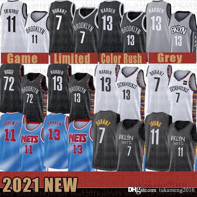 """13 هاردن كرة السلة جيرسي كيفن 7 دورانت 11 ايرفينغ رجالي كيري 2020 2021 مدينة نيو بروكلين """"Nets"""" جيمس 13 هاردن رخيصة"""