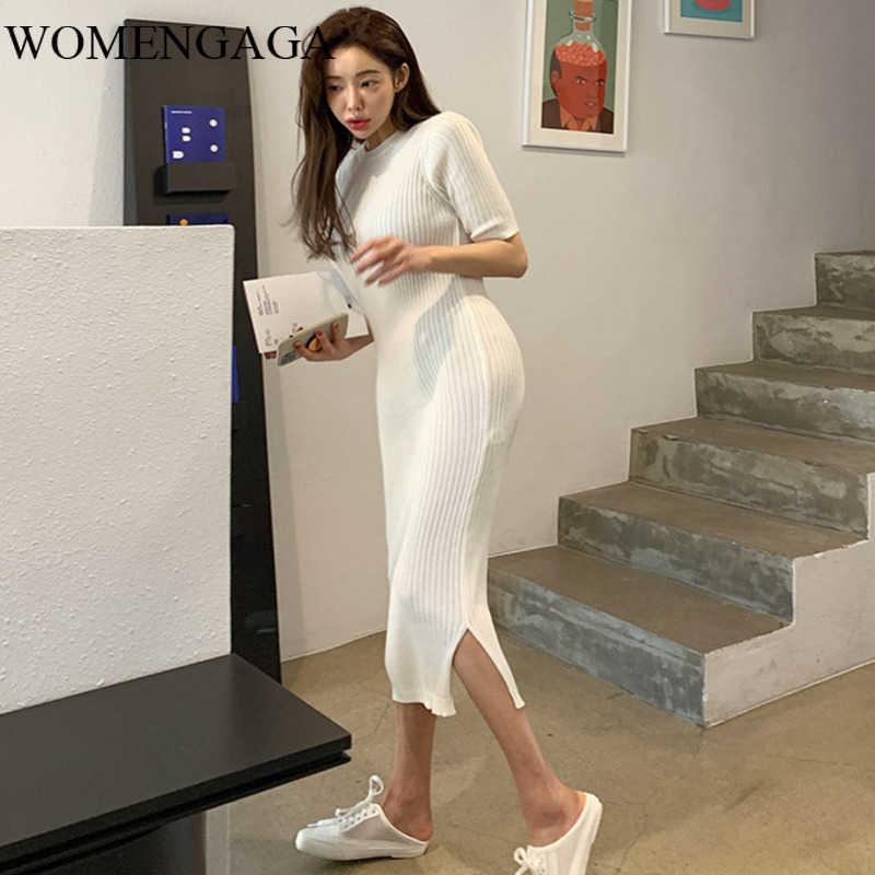 Womengaga Koreanische Frauen Frühling Slim Split Tight Long Kleid Mode Kleider Stricken Herbst KRG3 210603