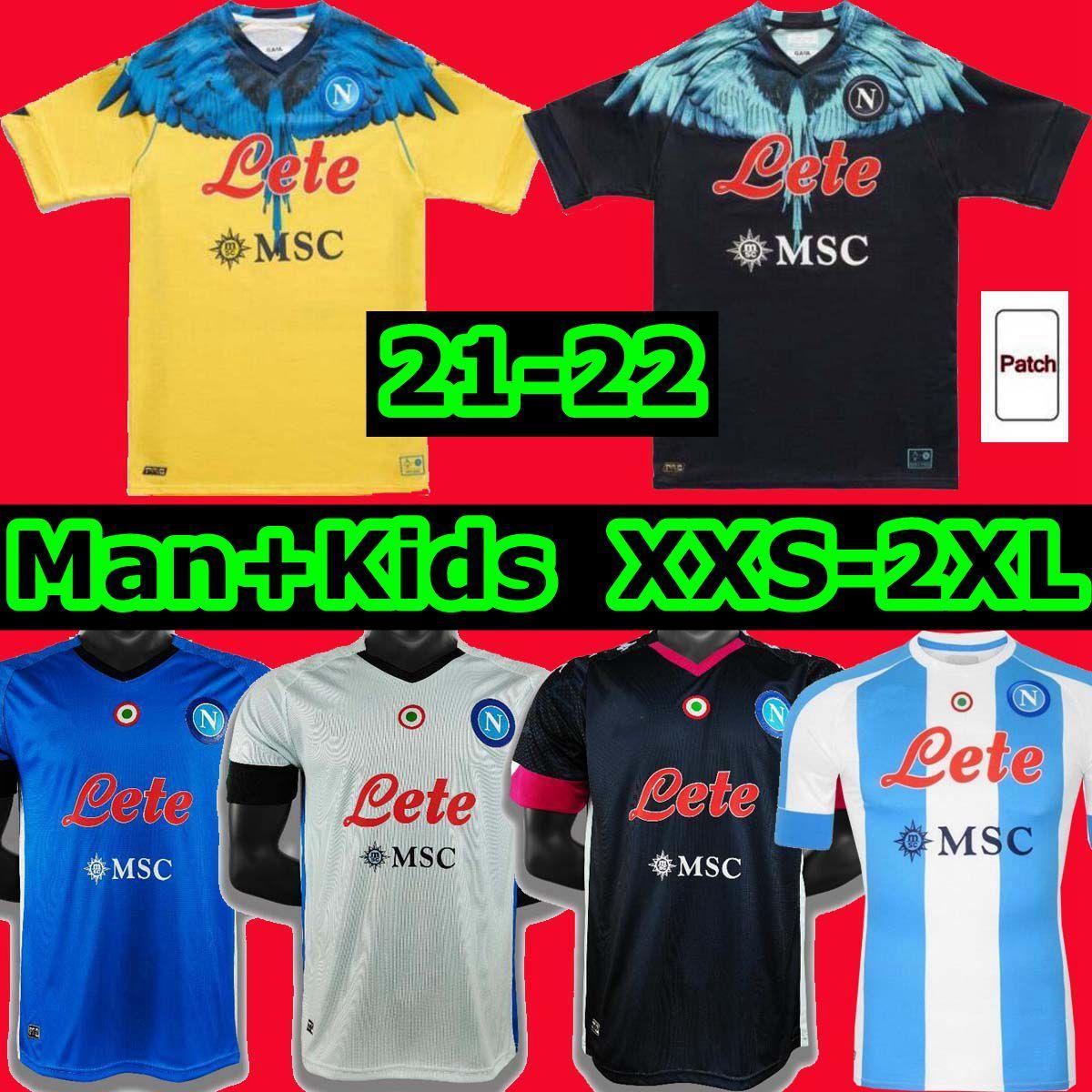 20 21 Napoli 축구 유니폼 나폴리 축구 셔츠 2021 2022 Koulibaly Camiseta de Fútbol Insigne Maradona Maillot Foot Mertens Camisa