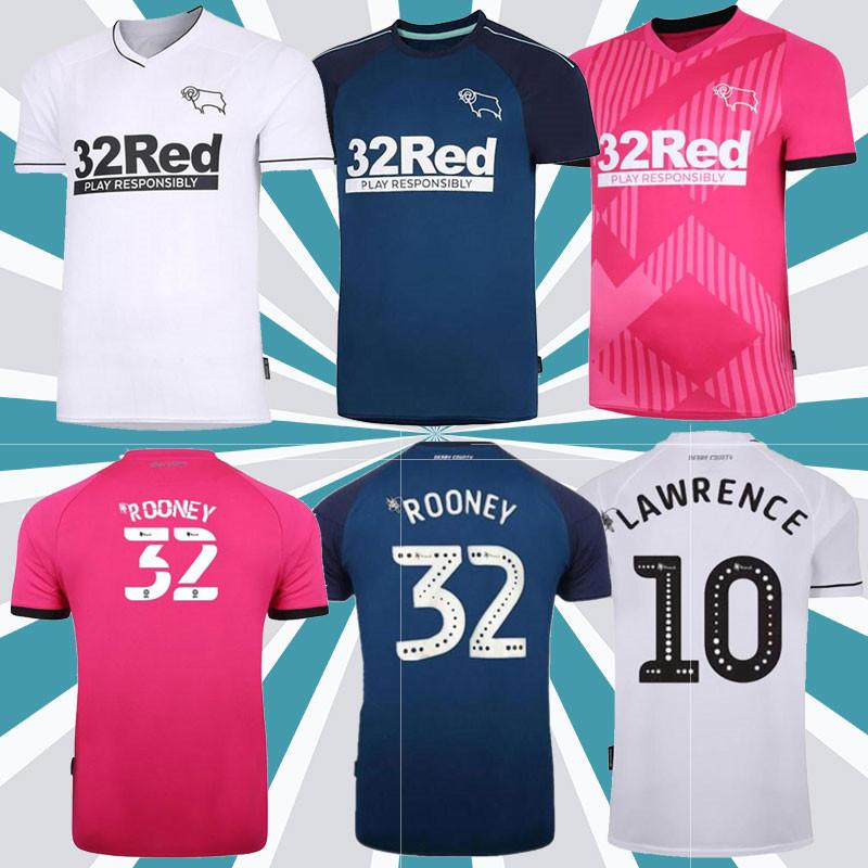2020 Derby County Rooney Fussball Jersey Home Adulto Kit Kits Martin Lawrence Futebol Camisas 20/21 Derby County Weisheit Waghorn Uniforme
