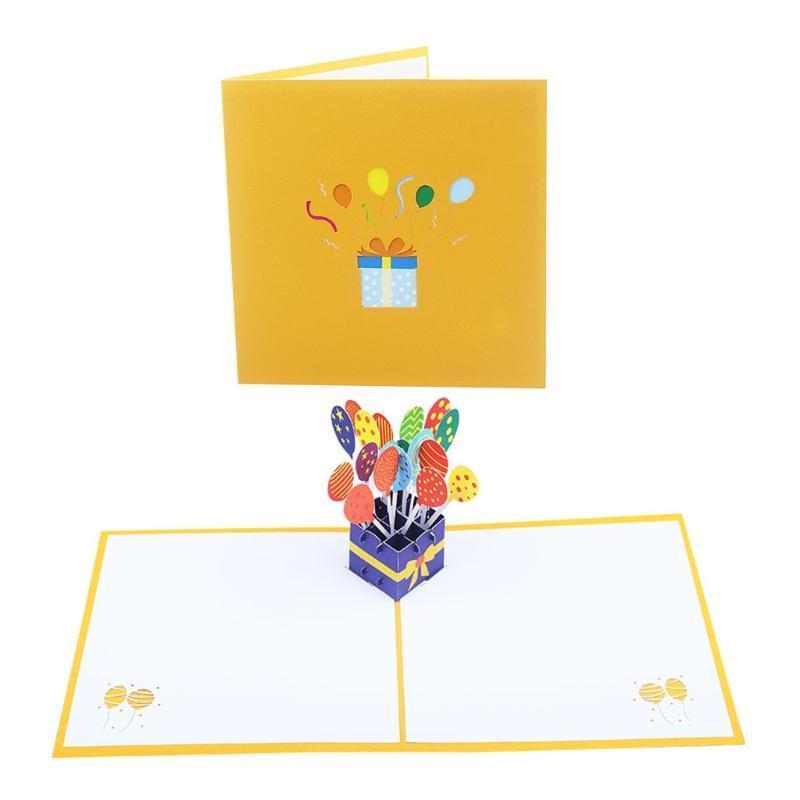 -Ub tebrik kartı için mutlu doğum günü pastası hediye kutusu balon düğün parti bebek duş zarf 449e kartları ile