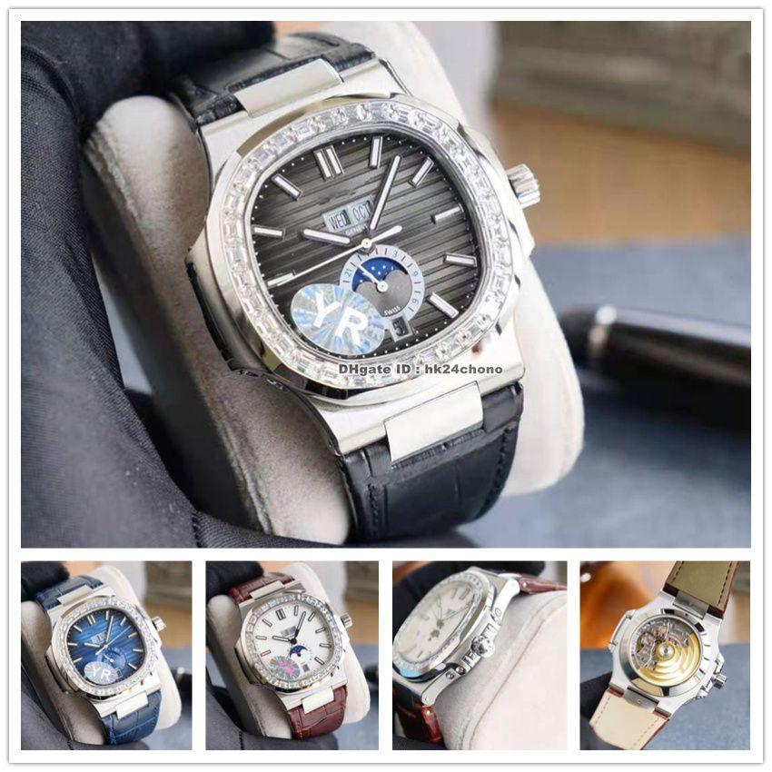 Relojes de alta calidad YR 5726 Nautilus Calendario Anual Diamante Bezel Cal.324 Autoamtic Mens Watch Blue Black Black Dial Strap de cuero Gents Sports Gents Wristwatches
