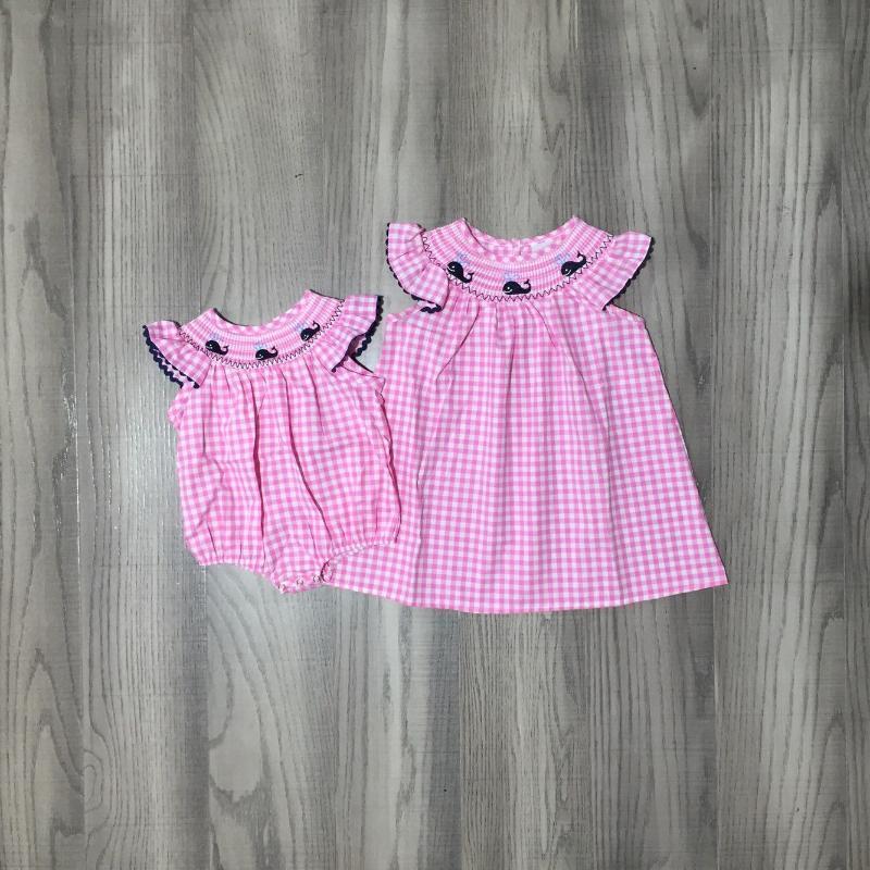 Sommer Baby Girls Wal bestickt Kurzarm Gewebtes Kleid Infant Plaid Rosa Romper Mädchen Kleider