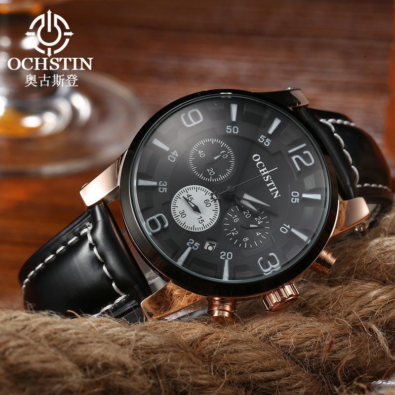Quartz Multifonctional Watch Calendrier Cuir Augustine Mode Homme Imperméable