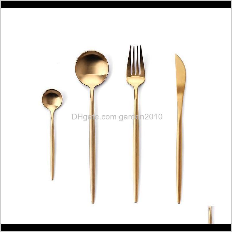 Estilo de Portugal SpoonForkKnife Kit Conjuntos de cubiertos de acero inoxidable Cubiertos Vajilla Vajilla Juego 3NNFQ AJESE