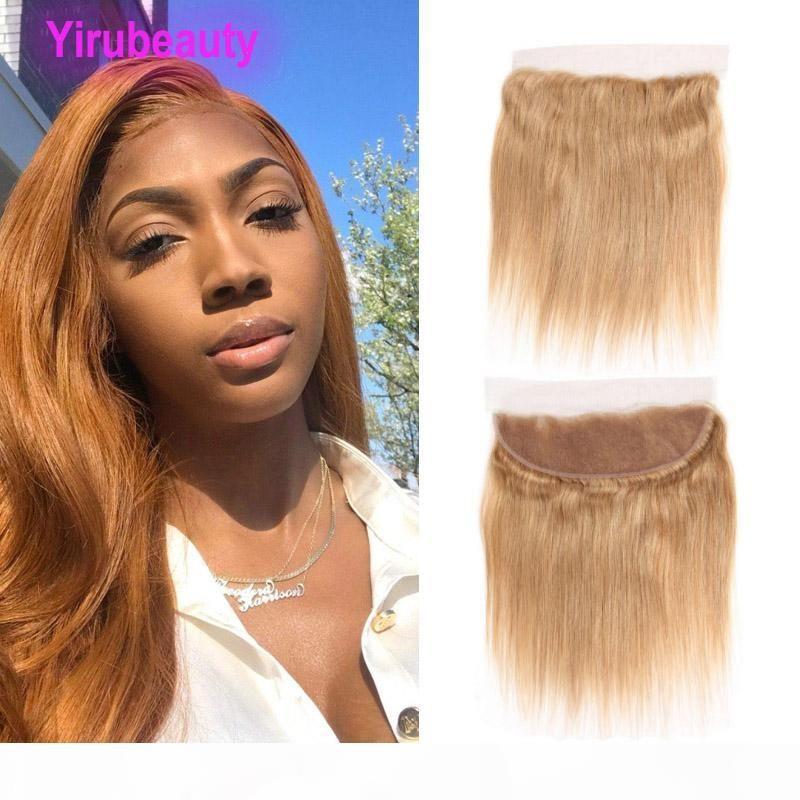 Capelli vergini brasiliani 27 # capelli umani dritti 13x4 pizzo frontale con i capelli del bambino 27 colori miele bionda seta striaghezza 10-22inch