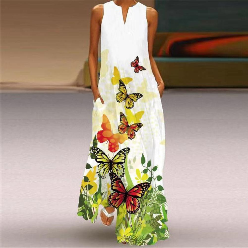 Casual DressesCasual Dresses2021 summer women's sleeveless V-neck butterfly print dress long skirt women's wear