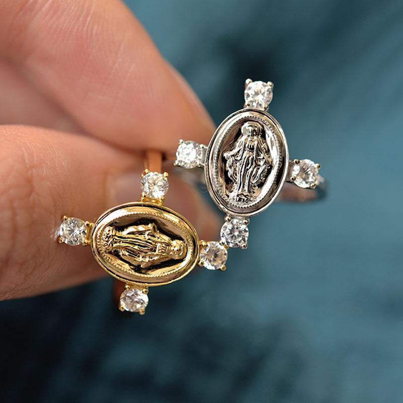 Cluster Ringe 2021 Mode Selbstgemachte Boutique Gold Zirkon Jungfrau Mary Cross Disc Vintage Ring Damen Schmuck