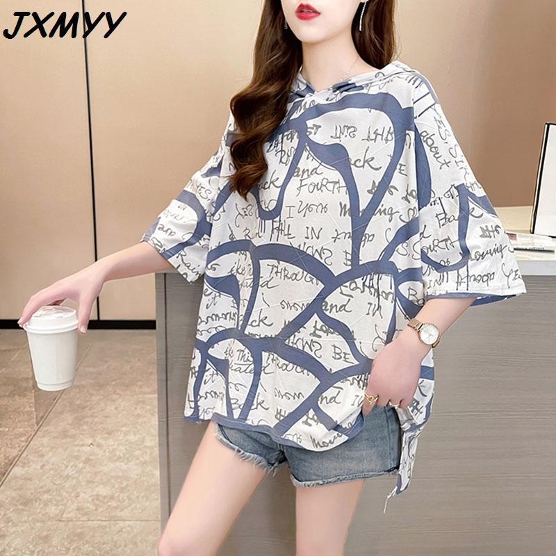 T-shirt da donna 2021 coreano casual allentato plus size grasso mm scollo rotondo lettera manica corta puro cotone jxmyy
