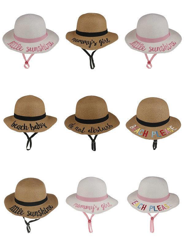 5pcs enfants filles garçons chapeaux de paille chapeau de godet de godet broched brodé godet d'alphadered enfants pour enfants ajustement visière caps bouchons de boutique boutique cheveux accessoires de cheveux