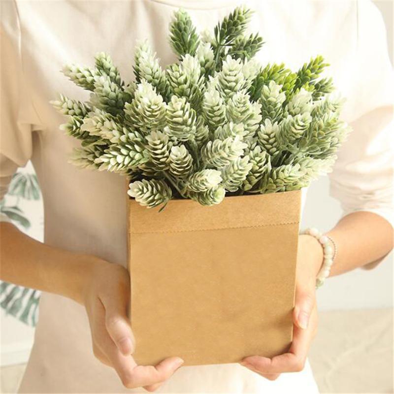 Artificial Plastic Pine 2Pcs Nuts Cones Fake Plants Tree For Christmas Party Decoration Faux Grass Xmas Home Decor Decorative Flowers & Wrea