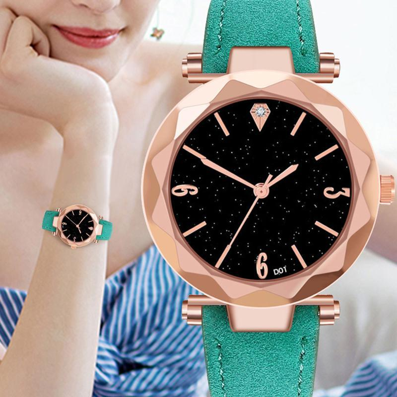 Wristwatches Watches For Women Men Starry Creative Cutting Dial Leather Belt Quartz Watch Fashion Simple Accessories Nice Gift