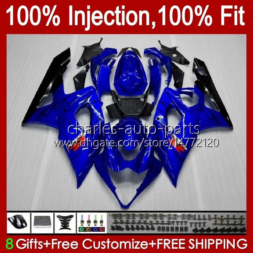 Kroppssprutning Mögel för Suzuki GSXR 1000cc 1000 CC Blue K5 GSXR1000 05 06 Bodywork 11HC.8 GSXR-1000 2005 2006 Cowling GSX-R1000 GSX R1000 05-06 OEM Fairing Black Flames