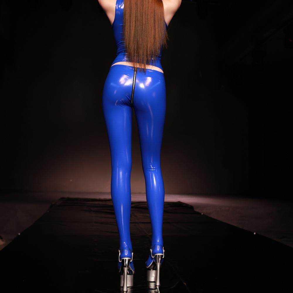 PVC Shiny Sexy Faux Leather Zipper Open U Crotch Tight Gothic Plus Size Pencil Hot Pants Capris Club Dance Wear 200930